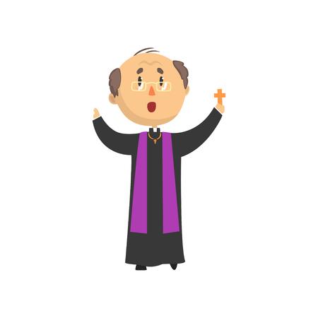 クロスと司祭文字祝福人、カトリックの説教、聖なる父漫画のベクトル図
