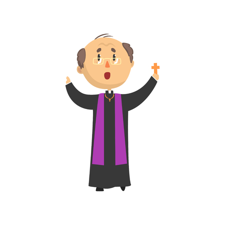 Priest character blessing people with cross, catholic preacher, holy father cartoon vector illustration