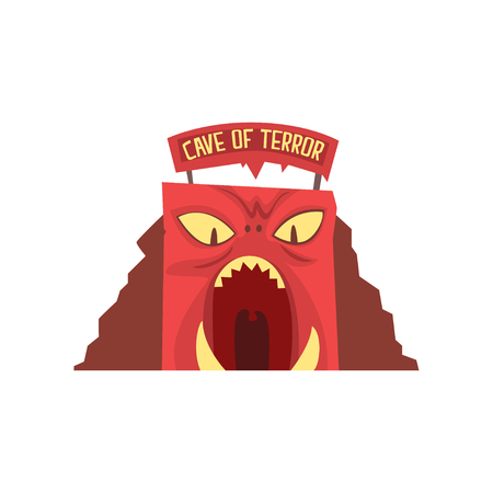 Cave of terror icon in form of red monsters face with large teeth and big signboard with text. Amusement park or carnival. Entertainment industry. Cartoon flat vector illustration isolated on white.
