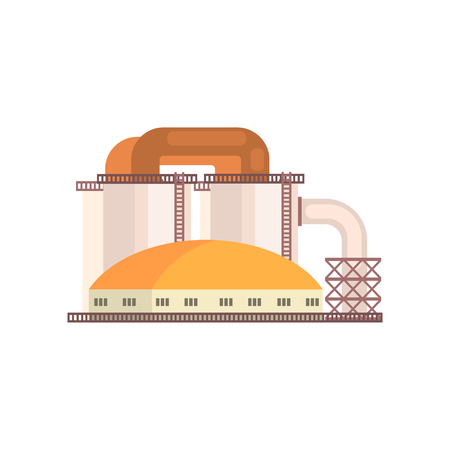 Refinery plant, industrial manufactury building vector illustration isolated on a white background Ilustrace
