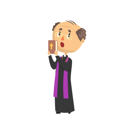 Priest character people with bible book, catholic preacher blessing, holy father in robe cartoon vector illustration isolated on a white background Illustration