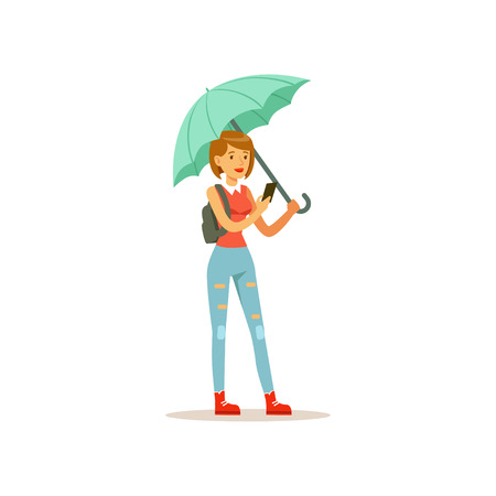 Beautiful woman with phone standing under turquoise umbrella flat vector illustration isolated on a white background