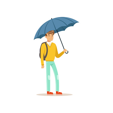 Man standing under blue umbrella flat vector illustration isolated on a white background Vettoriali