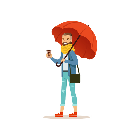 Man wearing warm clothes with coffee cup standing under red umbrella flat vector illustration isolated on a white background Çizim