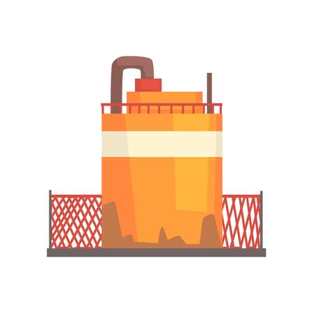 オレンジ色の金属製のタンクの図。  イラスト・ベクター素材
