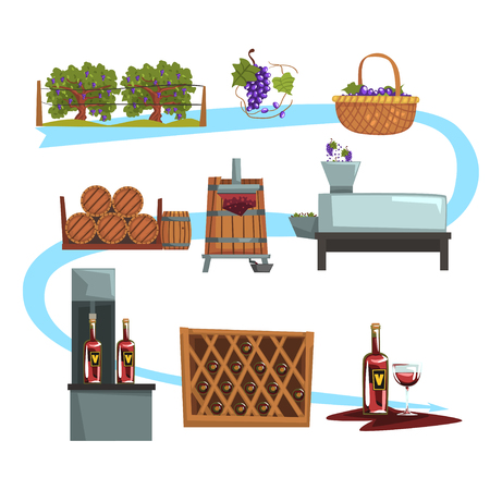 Wine production process stages illustration.