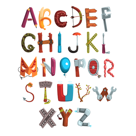 Collection of letters made of various objects, food and tools. Stock Illustratie