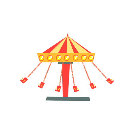 Cartoon icon of swinging carousel with seats on chains in motion.