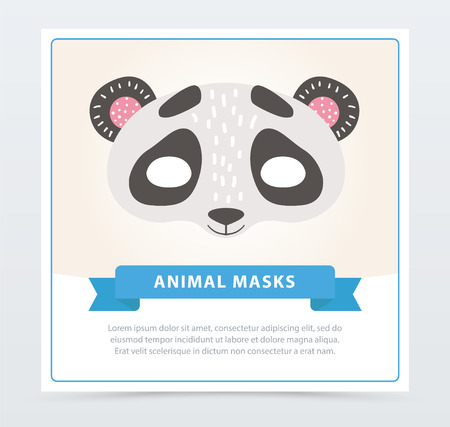 Cartoon panda s character mask for face in flat style. Black and white bamboo bear. Cute vector illustration with place for text. Graphic design template for carnival poster, greeting card or flyer. Illusztráció