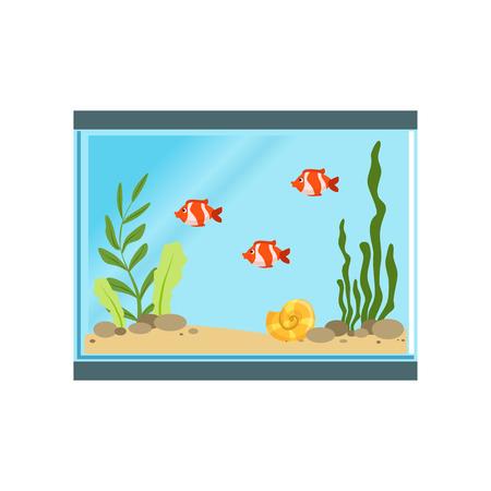 Icon of rectangular glass aquarium with orange fishes,