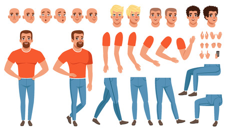 Creation set of young man, constructor for animation. Full length character. Body parts, face emotions, haircuts and hand gestures. Isolated flat vector