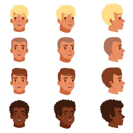 Illustration of men head avatars.  イラスト・ベクター素材