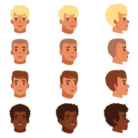 Illustration of men head avatars. Иллюстрация