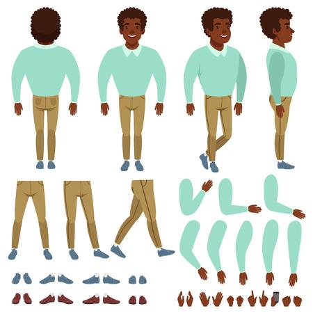 Curly-haired zwarte man constructor illustratie.