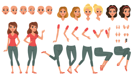 Pretty young woman constructor in flat style. Parts of body legs and arms , face emotions, haircuts and hands gestures. Vector cartoon girl character Illusztráció