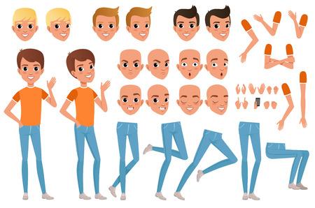 Teenager boy character constructor illustration. Vettoriali