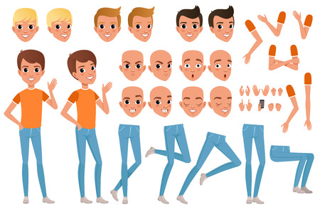 Teenager boy character constructor illustration. Vectores