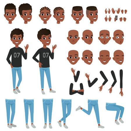 Teenager-Charakter-Konstruktor. Die einzelnen Körperteile des schwarzen Jungen Arme, Beine, Köpfe mit verschiedenen Haarschnitten, Handgesten. Verärgerter, ruhiger, überraschter und überzeugter Gesichtsausdruck. Flaches Vektor-Design