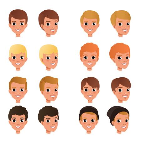 Cartooncollectie van verschillende kapsels en kleuren voor jongens zwart, blond, rood, bruin. Jong geitje met het glimlachen gezichtsuitdrukking. Menselijk hoofd pictogrammen. Geïsoleerde platte vectorillustratie. Ontwerp voor spelavatar