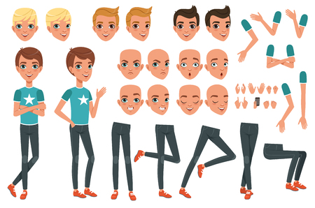 Young man character constructor. Creation set with parts of body legs, arms, hand gestures. Angry, dissatisfied, surprised and calm face expression. Full length boy. Stylish hairstyles. Flat vector.