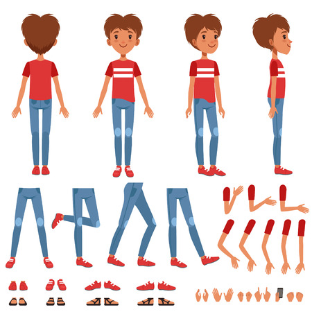 Boy character creation set, cute boy constructor with different poses, gestures, shoes vector Illustrations on a white background
