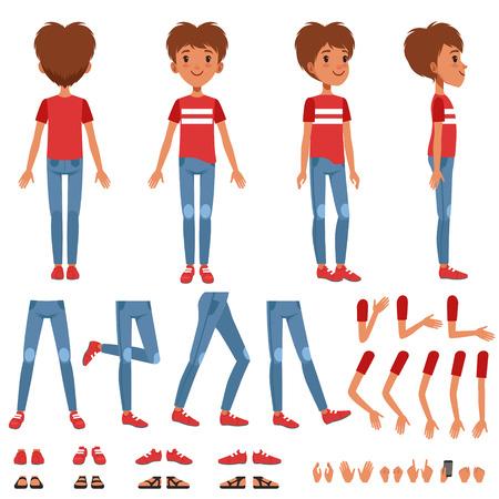 Jungencharaktererzeugungssatz, netter Jungenbauer mit verschiedenen Haltungen, Gesten, Schuhvektor Illustrationen auf einem weißen Hintergrund Standard-Bild - 91045963
