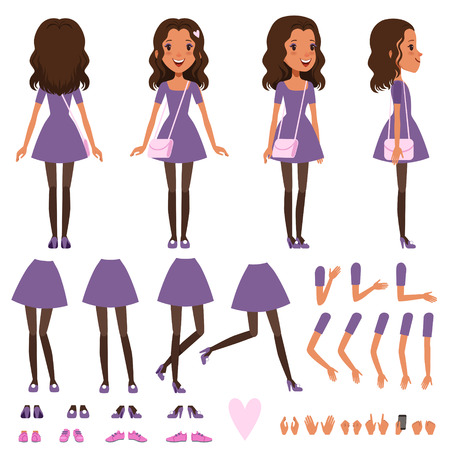 Pretty girl in dress with small handbag for animation. Constructor with various views front, side, back. Flat character creation set with body parts and gestures. Isolated cartoon vector illustration