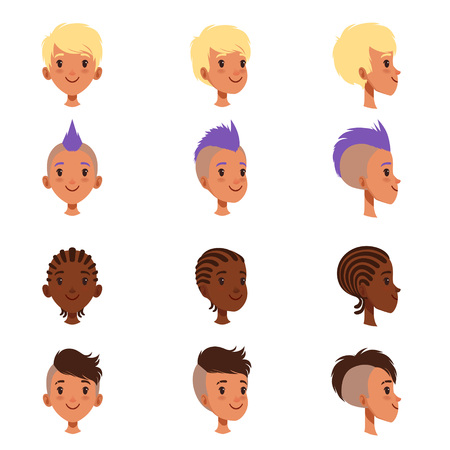Set of vector boys head faces with different hairstyles. Punk mohawk, dreadlocks, classical and trendy hipster haircut. Front and side view. Flat design illustration isolated on white background.