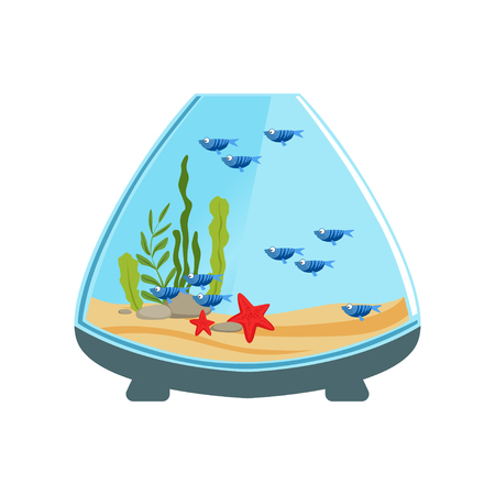 Ornamental fishes in aquarium of cone shape. Water tank with marine organisms and decorative plants. Domestic animals concept. Cartoon vector illustration in flat style. Design for card or flyer.