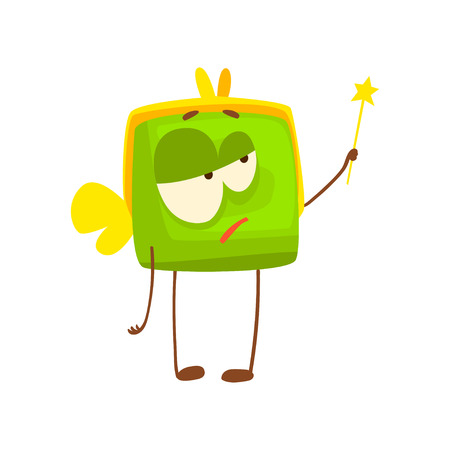 Cute purse character with wings and magic wand, funny green humanized pouch cartoon vector illustration isolated on a white background Illustration