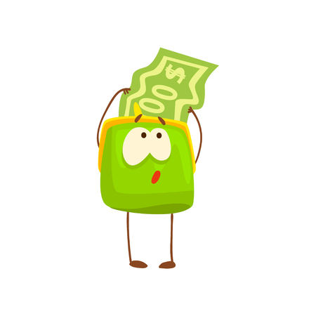 Cute purse character with dollar bill, funny green humanized pouch cartoon vector illustration