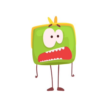 Cute scared purse character, funny green humanized pouch cartoon vector illustration Illustration