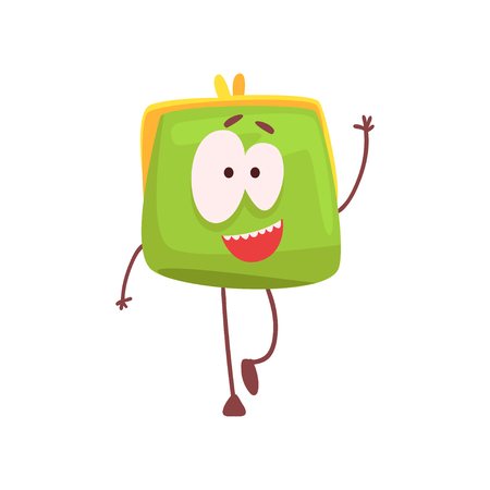 Cute smiling purse character waving its hand, funny green humanized pouch cartoon vector illustration isolated on a white background
