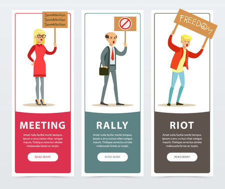 Meeting, rally, riot banners set, angry people with picket signs protesting flat vector elements for website or mobile app with sample text