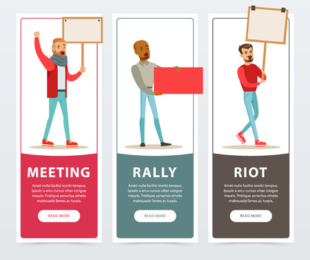 Meeting, rally, riot banners set, men with picket signs protesting flat vector elements for website or mobile app with sample text Illustration