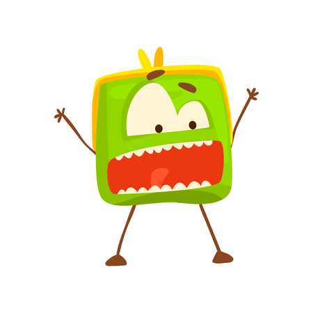 Funny shouting purse character , cute green humanized pouch cartoon vector illustration