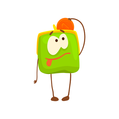 Cute purse character with golden coin, funny green humanized pouch cartoon vector illustration