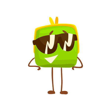 Cute purse character wearing sunglasses, funny green humanized pouch cartoon vector illustration