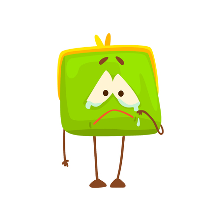Cute crying purse character, funny green humanized pouch cartoon vector illustration