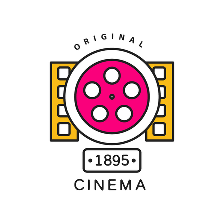 Cinema or movie logo template. Film industry label concept with big retro reel and filmstrips. Flat line vector icon illustration.