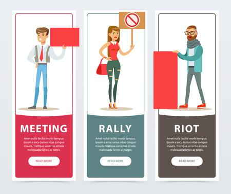 Treffen, Sammlung, Aufstandfahnen eingestellt, Leute mit Pfostenzeichen protestierend und flache Vektorelemente der Nachfragen für Website oder bewegliche APP ausdrückend