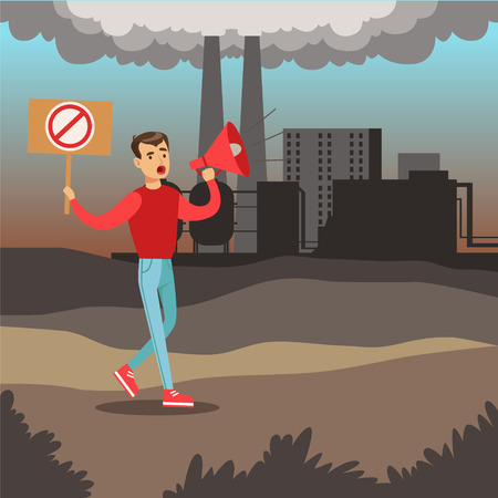 Man protesting standing on air pollution background, environmental pollution, ecology concept flat vector illustration Illustration