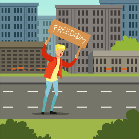 Young man protesting with banner demanding for political freedom flat vector illustration Illustration