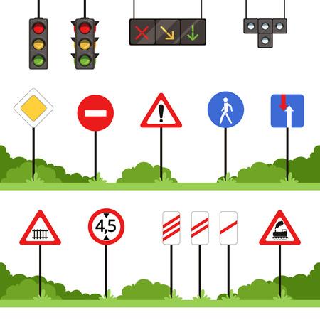 ●道路標識セット、各種交通標識ベクトルイラスト