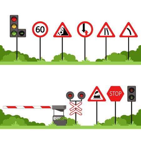 ●交通標識セット、各種道路標識ベクトルイラスト