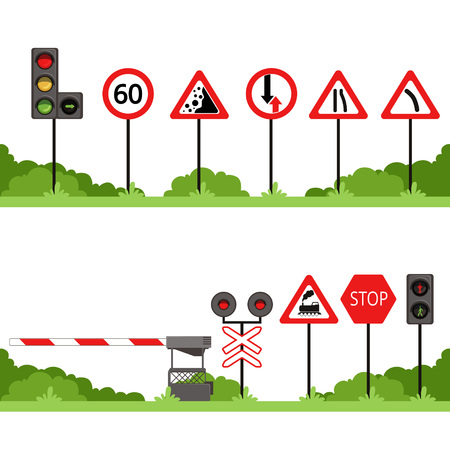 Traffic signs set, various road sign vector illustrations