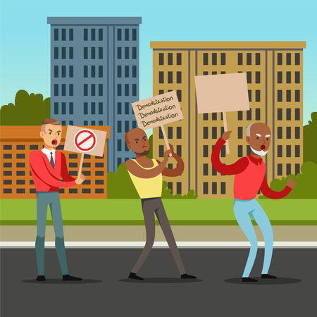 Multicultural group of people with placards claiming their demands on city background, mass protest flat vector illustration Illustration