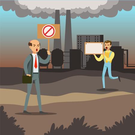 현수막, 환경 오염, 생태 개념 평면 벡터 일러스트와 함께 대기 오염에 대하여 항의하는 사람들