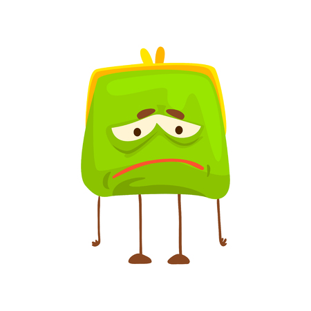 Cute sad purse character, funny green humanized pouch cartoon vector illustration