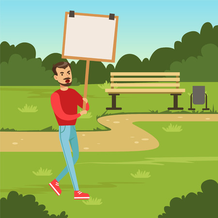 Man with placard claiming his demands in the park, male with picket sign protesting flat vector illustration Ilustração